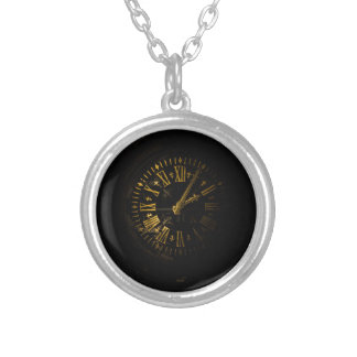 Clock face silver plated necklace