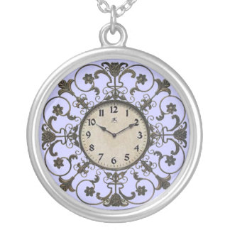 CLOCK-FACE SILVER PLATED NECKLACE