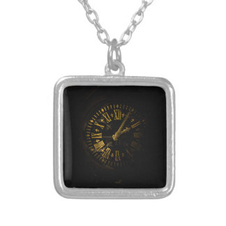 Clock face square pendant necklace