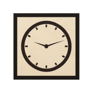 Clock Face with Hands Wood Print