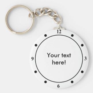 Clock face with personalized text key ring