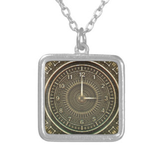 Clock faces silver plated necklace