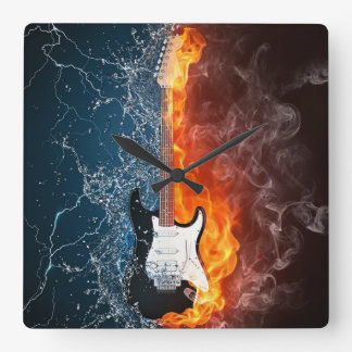 (CLOCK)FIRE & ICE GUITAR SQUARE WALL CLOCK