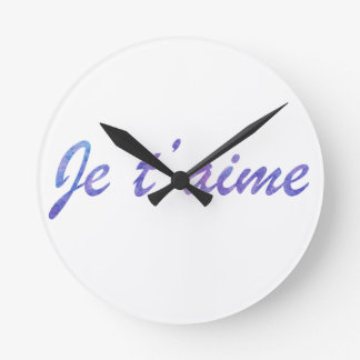 Clock Je t'aime Watercolor purple I love you