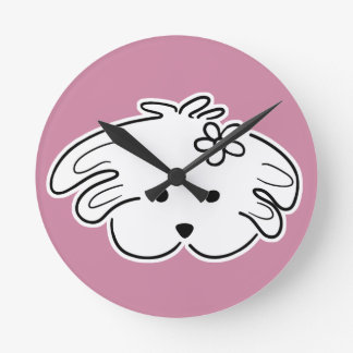 Clock of pink wall, small dog, the world of Lua