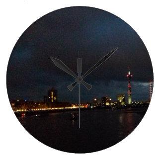 Clock of skyline Duesseldorf at night