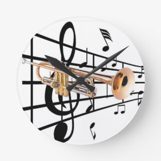 Clock of trumpet player wall