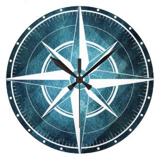 Clock of wall bluish compass