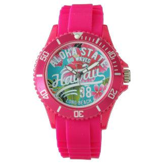 Clock Pink Exclusive Aya Hawaii Aloha Surf Watch