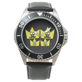 Clock Stainless Steel Black Leather - Gay Family Watch