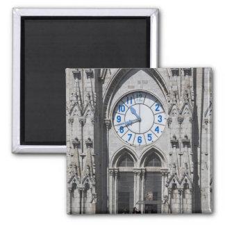 Clock towers at the National Basilica, Ecuador Square Magnet