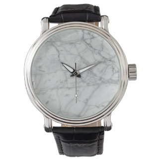 Clock unisex marble and black leather wristwatch