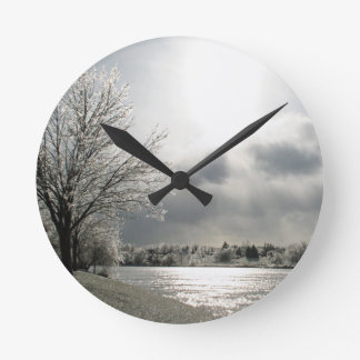 clock with photo of icy winter landscape