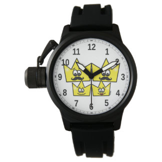 Clock with Protector of Crown Bracelet Rubber Watch
