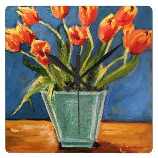 Clock with Red Orange Tulips