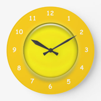Clock - Yellow 3D disk clock