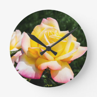 Clock - yellow and red tip rose