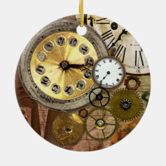 Clocks Rusty Old Steampunk Art Round Ceramic Decoration