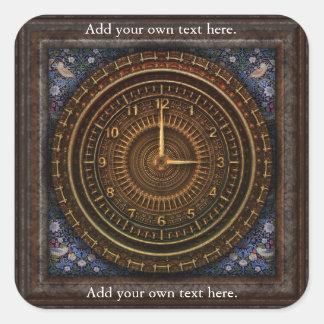 Clockwork Clock Time Steampunk Victorian Square Sticker