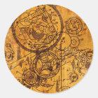 Clockwork Collage Classic Round Sticker