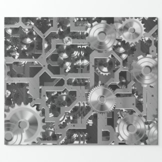 Clockworks Silver & Platinum Wrapping Paper