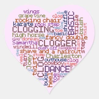 Clogger Clogging Word Art Heart Sticker