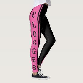 Clogger Pink and Black Clogging Clog Dancers Cute Leggings