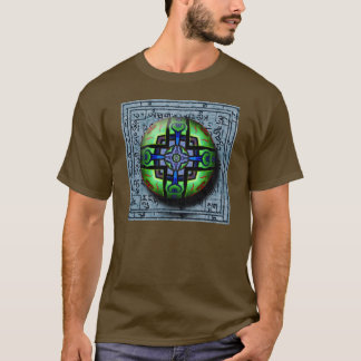 Cloisonne Sphere in Green and Blue Abstract Tee