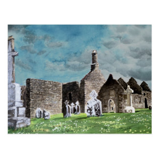 Clonmacnoise Ireland Landscape Watercolor Painting Post Card