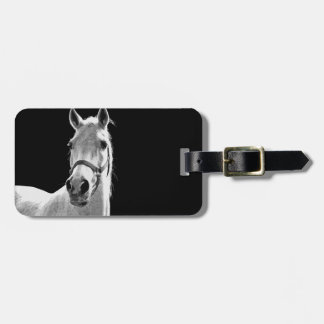 Close-up Black White Horse in Night Luggage Tag