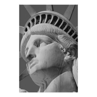 Close-up Black White Statue of Liberty Poster