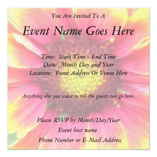 Close up - Blanket Flower Bloom Personalized Announcement