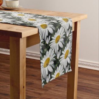 Close Up Common Daisy with Winged Insects Short Table Runner