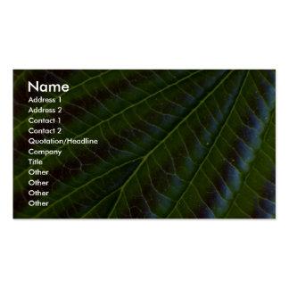 Close-up detail of leaf business cards