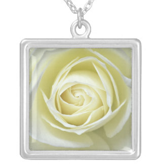 Close up details of white rose square pendant necklace