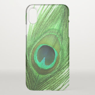 Close Up Green Peacock Feather iPhone X Case