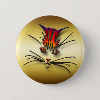 CLOSE-UP KITTY CAT FACE 6 CM ROUND BADGE