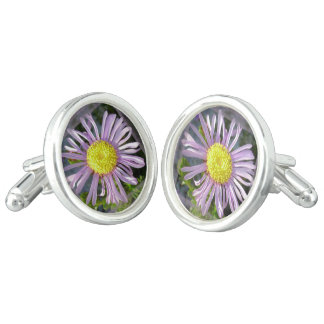 Close Up Lilac Aster With Bright Yellow Centre Cufflinks