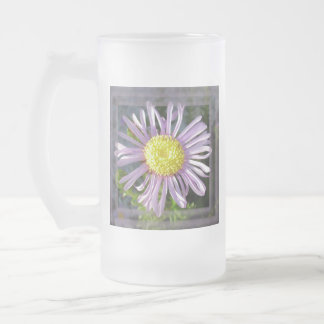 Close Up Lilac Aster With Bright Yellow Centre Frosted Glass Beer Mug