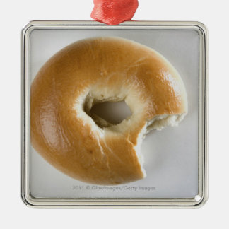 Close-up of a bagel metal ornament
