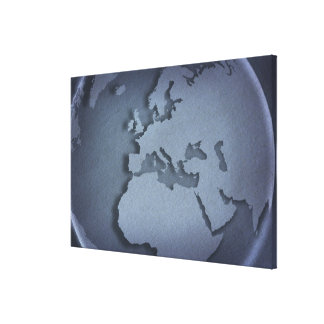 Close-up of a blue globe showing North Africa, Gallery Wrap Canvas