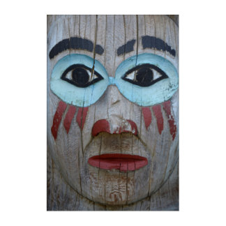 Close Up Of A Carved Totem Acrylic Print