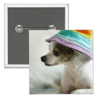 Close-up of a Chihuahua wearing a hat 15 Cm Square Badge