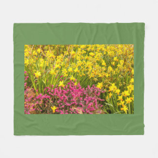 close-up of a coloured flowering on fleece blanket
