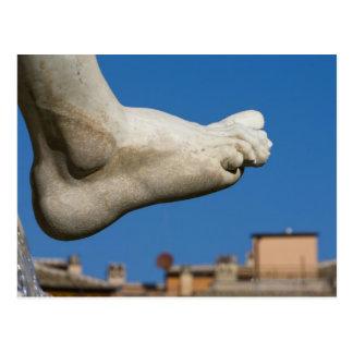 close-up of a foot on the Fontana dei Quatro Postcard