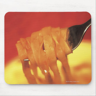 close-up of a forkful of pasta mouse pad