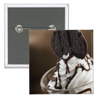 Close-up of a glass of chocolate sundae 15 cm square badge