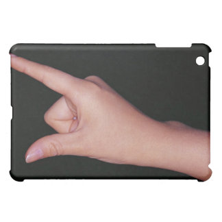 Close-up of a hand with finger and thumb case for the iPad mini