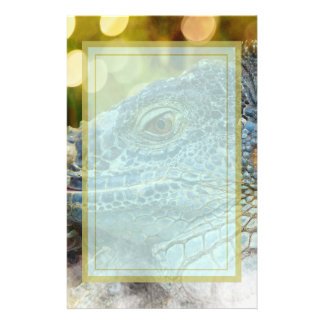 Close Up of a Large Scaly Green Iguana Lizard Personalized Stationery