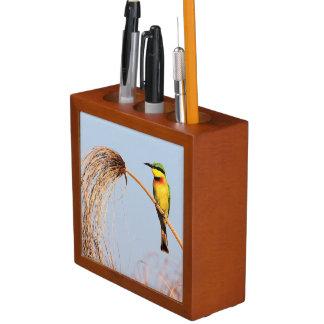 Close-up of a little bee-eater bird desk organiser